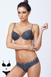 Set sutien cu efect Push-Up si chilot 4374 Blue