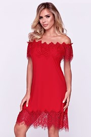 Camasa de noapte eleganta Sevilla rosu