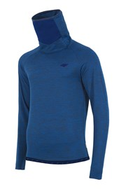 Bluza barbateasca 4f Blue, material functional, guler inalt