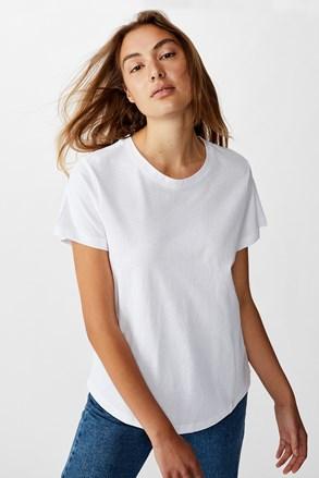 Tricou de damă basic cu mâneci scurte Crew alb