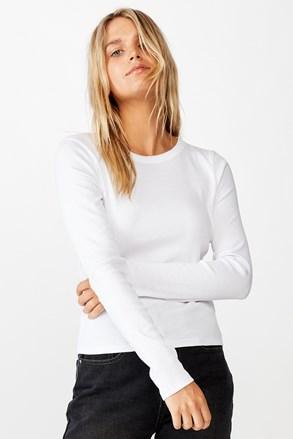 Tricou de damă basic cu mâneci lungi Turn alb