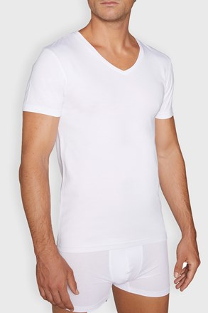 Tricou de corp barbatesc Cotton Nature V neck, alb