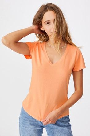 Tricou de damă basic cu mâneci scurte One Apricot