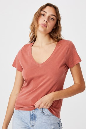 Tricou de damă basic cu mâneci scurte One cărămiziu