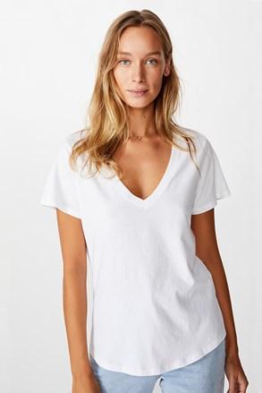Tricou de damă basic cu mâneci scurte One alb
