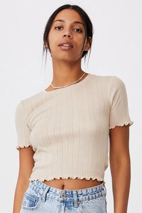 Tricou de damă cu mâneci scurte Pointelle Crop bej