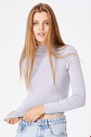 Tricou de damă basic cu guler Mila gri