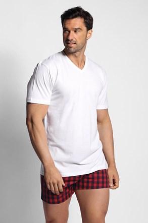 SET pijama, tricou si pantalon scurt, model caroiat