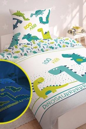 Lenjerie de pat Dinos pentru copii, straluceste in intuneric