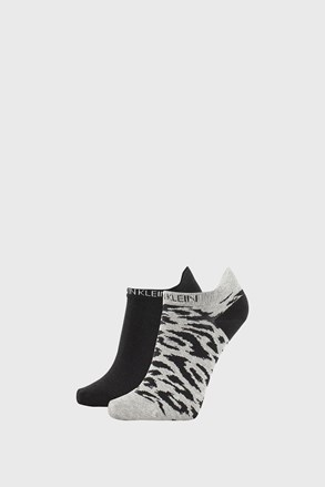 2 PACK șosete damă Calvin Klein Libby, gri-negru