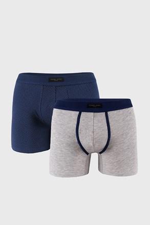 2 PACK boxeri, albastru-gri