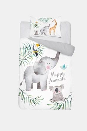 Lenjerie de pat pentru copii Happy Animals, din bambus