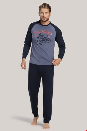 Pijama barbateasca, albastru cu inscriptie