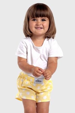Șort copii ELKA LOUNGE galben, model cu buline