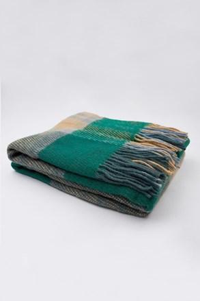 Patura de lux, lana din Noua Zeelanda, albastru-verde