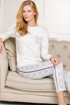 Set haine de casă damă Nela, alb-gri