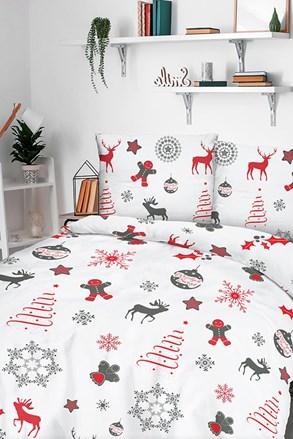 Lenjerie de pat din flanel Snow model de Crăciun