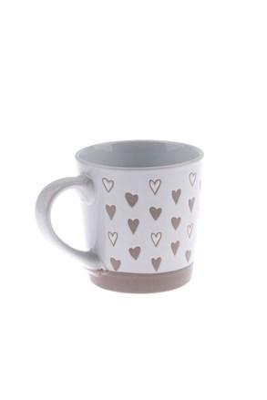 Cană ceramică Inimi 473 ml, alb