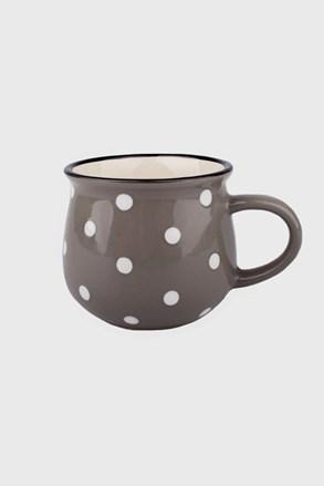 Cana mica din ceramica cu buline 230 ml, gri