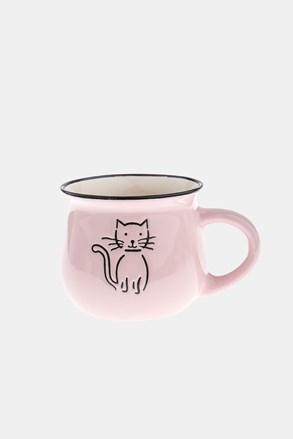 Cana ceramica cu pisica roz 368 ml