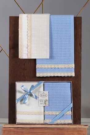 Set prosoape cu textura gofrata, albastru