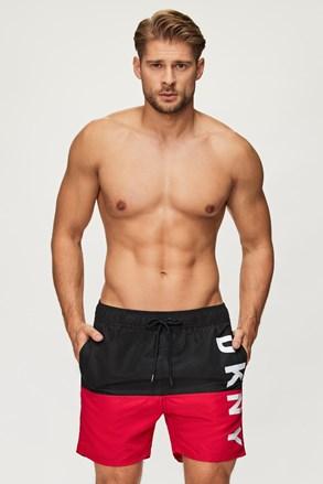 Pantalon scurt de baie DKNY Naxos negru-roșu