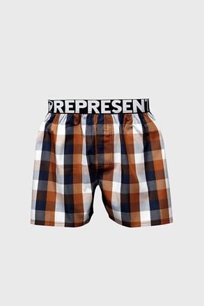 Pantaloni scurti in carouri maro-negru Represent Classic Mike