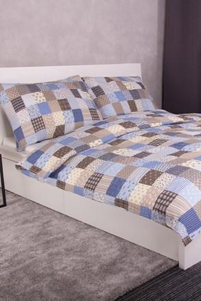 Lenjerie de pat creponata Patchwork, albastră