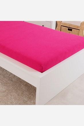Cearsaf elastic de pat froté, roz