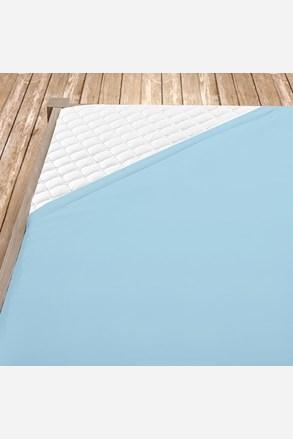 Cearsaf de pat cu elastic din bumbac, albastru deschis