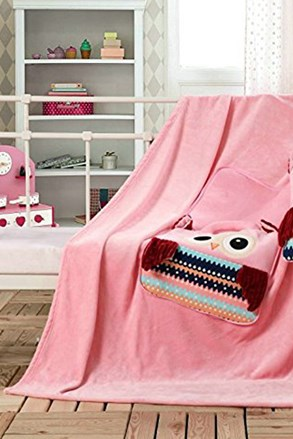 Pernă şi patură pentru copii 2 in 1 Bufniţă, roz