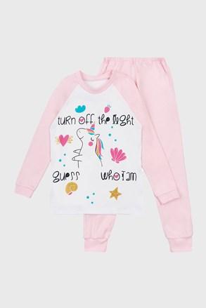 Pijama fetițe Unicorn Dream cu imprimeu luminos