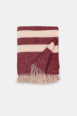 Pătură de lux din lână Stripe, burgundy