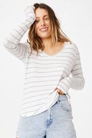 Tricou de damă basic cu mâneci scurte Karly în dungi