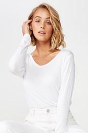 Bluza basic dama Karly, alb, maneca lunga