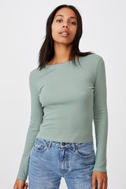 Bluza basic Turn, maneca lunga, verde