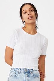 Tricou de damă cu mâneci scurte Pointelle Crop alb