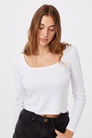 Tricou de damă basic cu mâneci lungi Serena alb