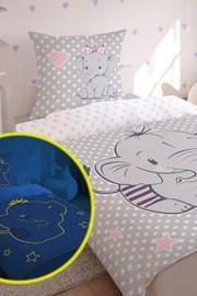 Lenjerie de pat Elefant pentru copii, straluceste in intuneric