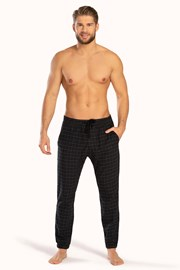 Pantalon Pj Drake,negru, model caroiat