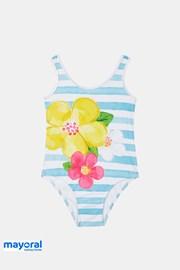 Costum de baie intreg Mayoral, pentru fetite, albastru-alb