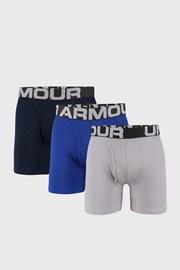 3 PACK boxeri Under Armour Cotton, albastru-gri