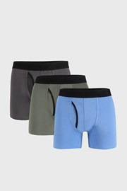 3 PACK boxeri Organic Cotton albastru-gri