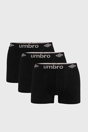 3 PACK boxeri Umbro Organic cotton, negru