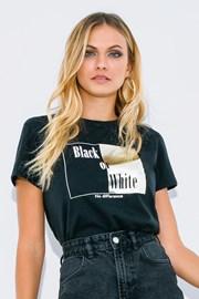 Tricou damă Black or White, mânecă scurtă