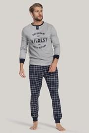 Pijamale pentru barbati, gri-albastru, cu inscripție