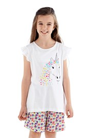 Pijama fete Polly, scurta, alb
