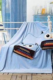 Perna si patura pentru copii 2 in 1 Bufnita, albastru
