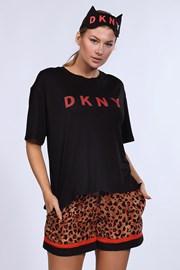 Set de pijamale si masca de dormit DKNY Brown Animal