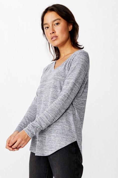 Bluza basic dama Karly, maneca lunga, gri